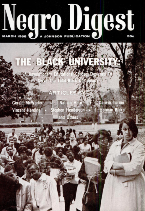 "Cover of March 1968 edition of ""Negro Digest"""